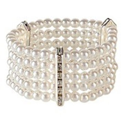 """""""DELUXE PEARL BRACELET WITH STRASS"""". 01894 W"""
