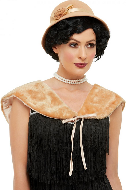 1920s Instant Kit, Cream, with Hat & Faux Fur Stole 51012
