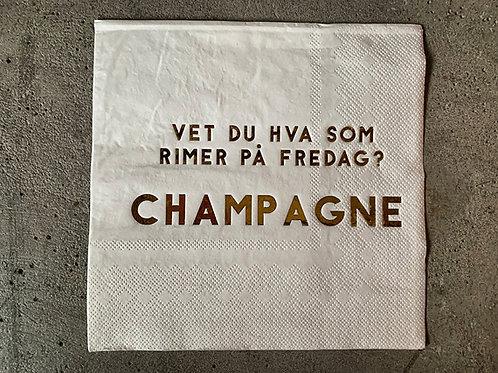 Serviett hvit m gull 33x33 Champagne fredag  Produktnr:L66043