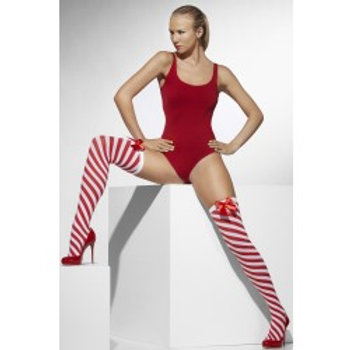 Stockings, Red and White, Striped, With Bows 42780 S