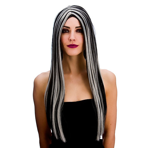 Black Silver Wig Bewitched Witches Long. HW-8279 Wicked