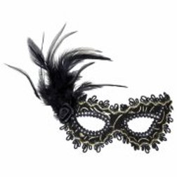 BLACK EYEMASKS WITH ROSE, FEATHERS & GOLD...  (1789N)