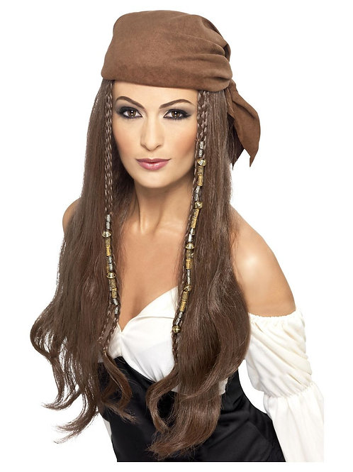 «Pirate Wig, Brown, with Bandana, Beads and Charms». 21398 S