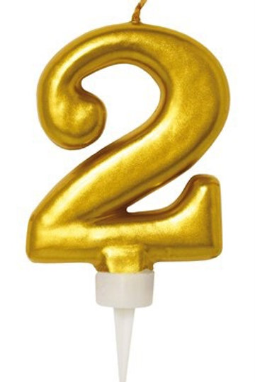 BIRTHDAY CANDLE GOLD 2. 79032-2 JOKER