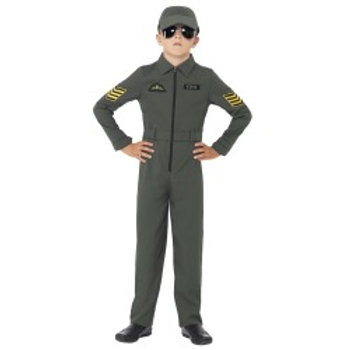 Aviator Costume, Khaki, Jumpsuit with Badges, Attached Belt and Hat 41091 S