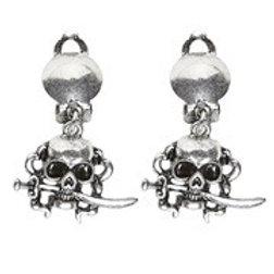Pair of Pirate Skull Earrings. 46742 W