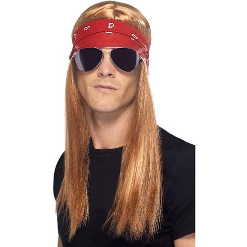 90'S Rocker Kit, With Auburn Wig With Bandana and Sunglasses