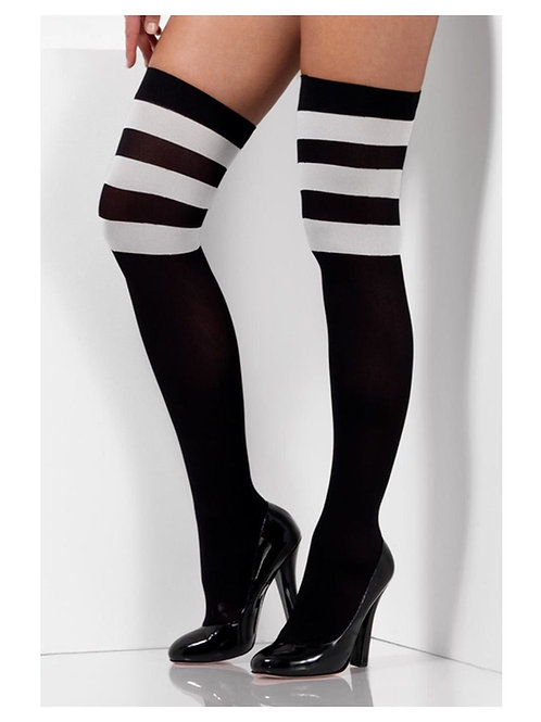 Cheerleader Opaque Hold Ups, Black, with White Stripes. 47528 S