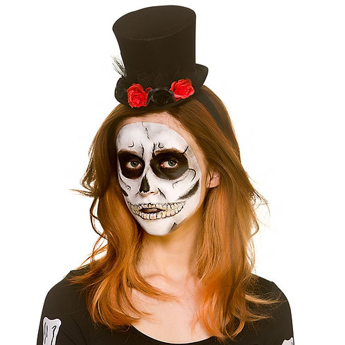 Day of the Dead Mini Top Hat w/Flowers. AC-9728 Wicked