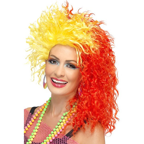 80's Fun Girl Crimp Wig, Red with Yellow Flash