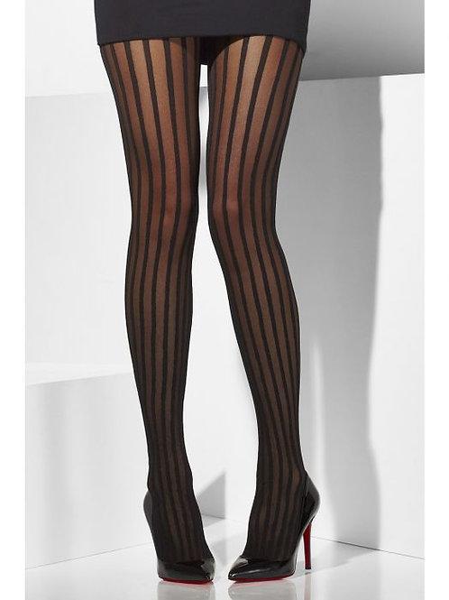 Sheer Tights, Black, Vertical Stripes SKU 42720