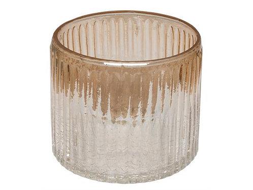Lysglass krakkelert/gull stripet h:8cm Varenr: 109841