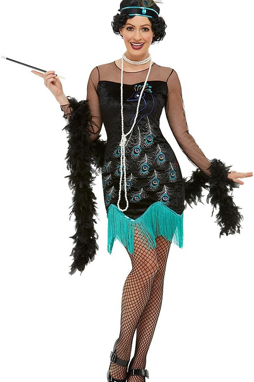 20s Peacock Flapper Costume, Green & Blue, with Dress & Headband 47780 S
