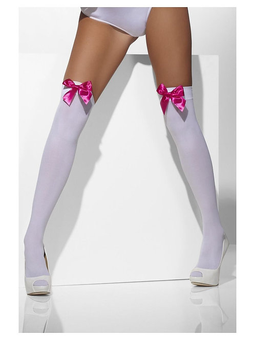 Opaque Hold-Ups, White, with Fuchsia Bows. 42766 S
