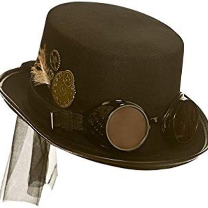 Deluxe Steampunk Hat w/Goggles AC-9724 W