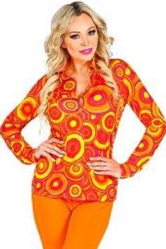70s LADY SHIRT. Bubbles orange. 09320 W