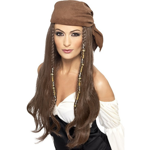 pirat parykk, brun