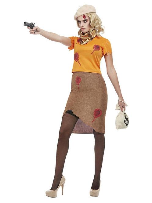 Bonnie Zombie Gangster Costume, Orange. 63025 Smiffys