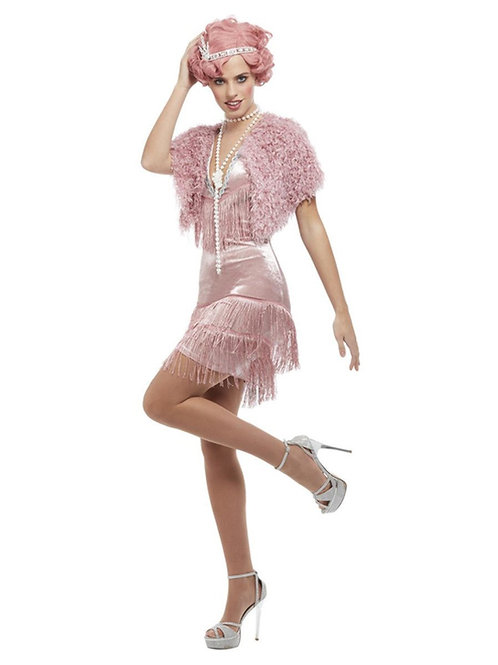 20s Vintage Pink Flapper Costume. 55080 Smiffys