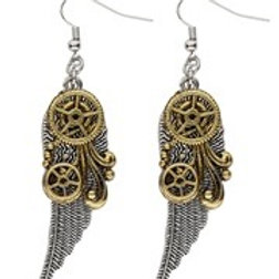 "Pair of ""STEAMPUNK EARRINGS WITH WINGS"". 01784 W"