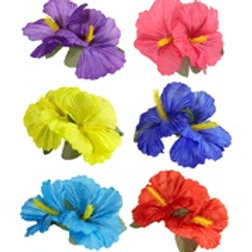 """""""2 HIBISCUS FLOWERS HAIR CLIP"""" 6 colors as... 1842A W"""