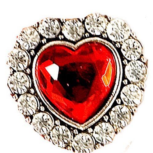 HEART RING WITH RED GEM & STRASS. 2948A Widmann