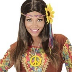 Brown hippie wig with multicolored sunflower. 04657 W