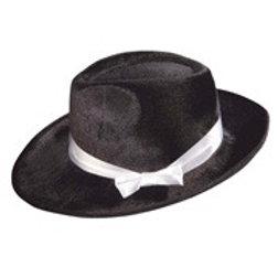 """BLACK VELVET GANGSTER HAT"""" with satin ribbon. 2902B W"""