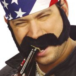 ADHESIVE SIDEBURNS & MOUSTACH 2607B W