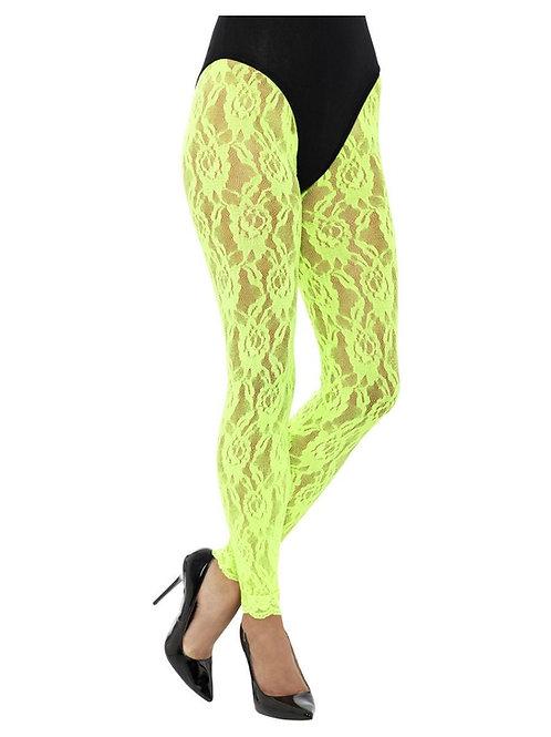 80s Lace Leggings, Neon Green. 45160 S