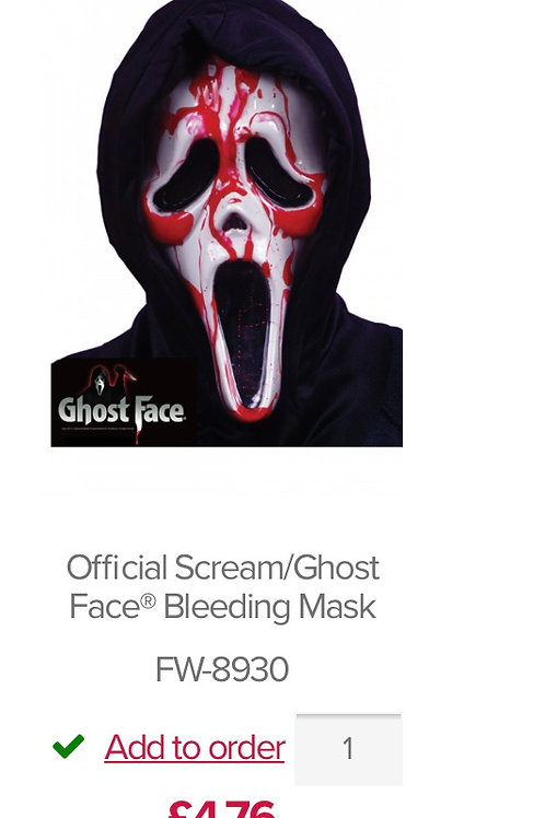 Official Scream/Ghost Face® Bleeding Mask. FW-8930 Wicked