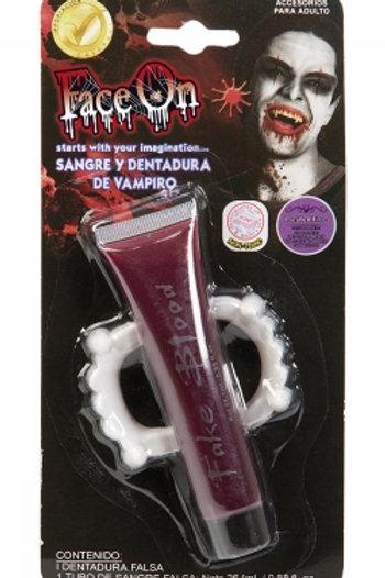 Fake blood and teeth