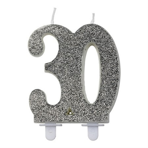 GLITTER NUMBER CANDLE 30 SILVER. 79279-30 JOKER