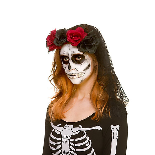 Day of The Dead Rose Headband w/Lace Skull Veil AC-9326 Wicked.