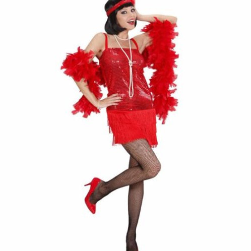 """""""RED FLAPPER"""" (dress, headband with feather) (70321)"""