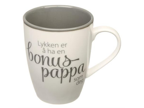Krus Lykken...bonus-pappa hvit m/grå tekst