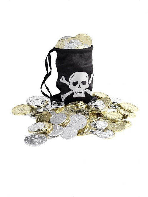 Pirate Coin Bag SKU 28344 Pirate Coin Bag, Black, with Coins