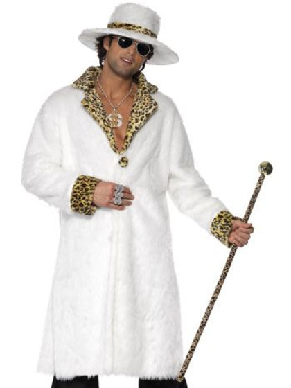 Pimp Costume, White and Leopard Skin S 38135