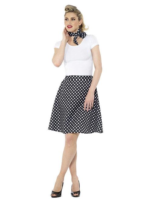 Adults 50s Polka Dot Skirt, Black.47688 S