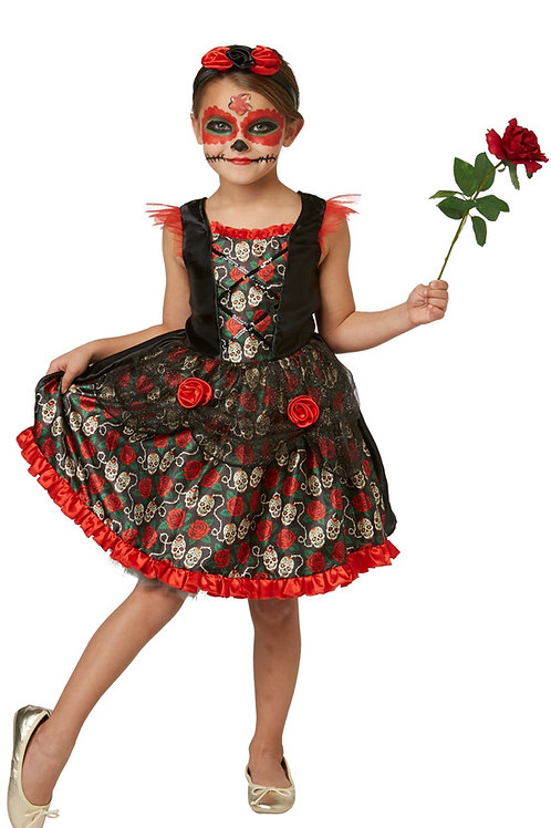 RED ROSE DAY OF THE DEAD COSTUME – CHILDRENS. 630709 RUBIES