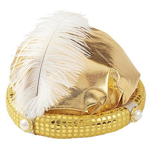 SULTAN HAT with pearls & feather. 1402S Widmann
