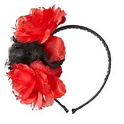 """3 RED-BLACK ROSES HEADBAND WITH GLITTER"". 04131 W"