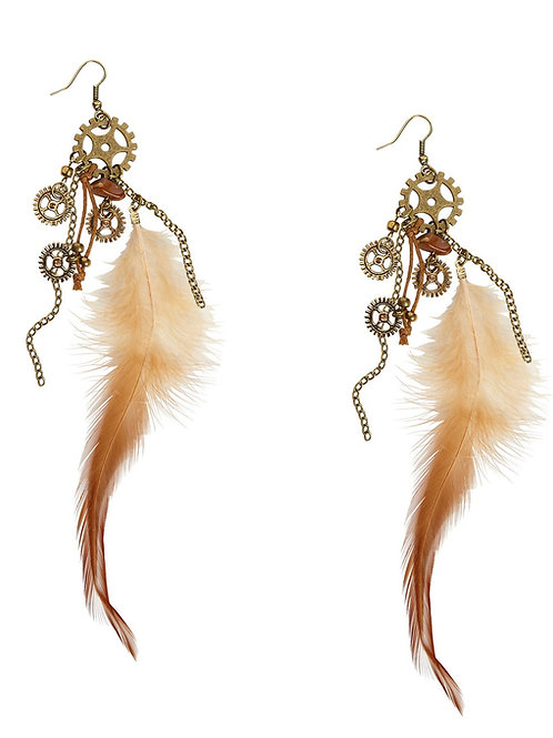 Steampunk Earrings With Feathers. 01785 W
