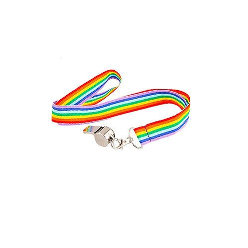 Whistle on Rainbow Lanyard. AC-9089 Wicked