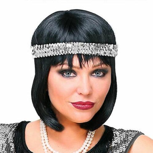 Flapper Silver Sequin Headband. 00300 W
