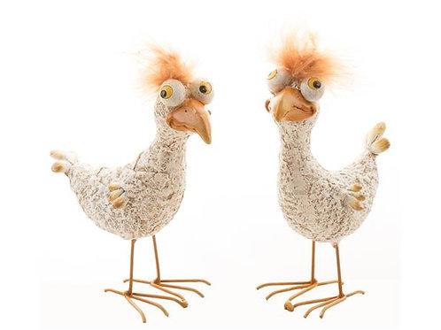 Kylling stående crazy beige/rød 10cm