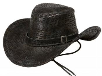 Cowboyhatt, svart med slangeskinnsmønster