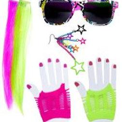 """80's GIRL"" (2 neon hair extensions, earri... W 01157"