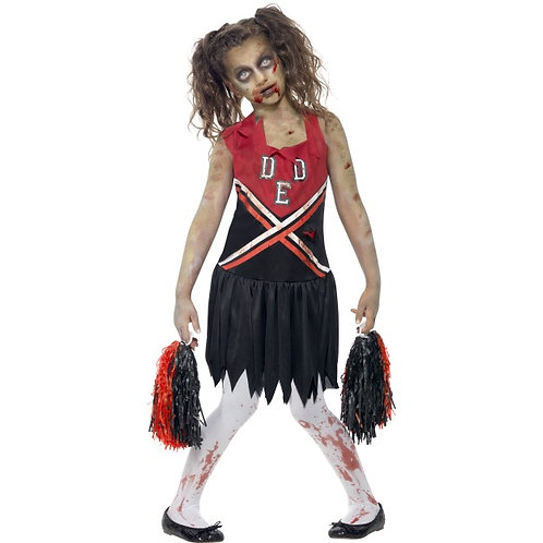 Zombie Cheerleader Costume, Red & Black, with Blood Stained Dress and Pom Poms S