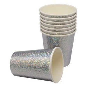 Paper Cup Holographic Silver 8-pk. 78920 Joker